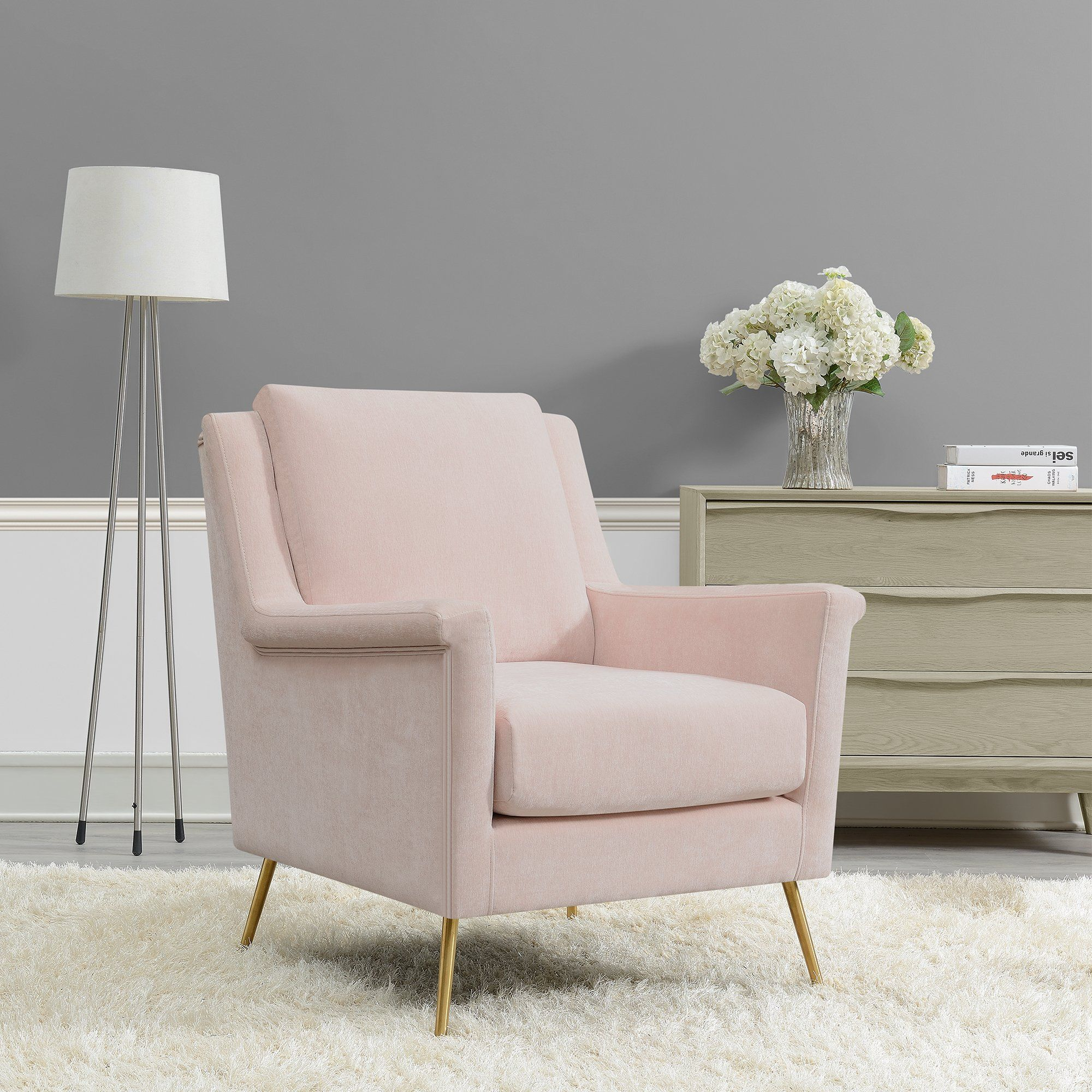 Mid Century Modern Blush Pink Accent Chair - Cambridge | RC Willey Furniture Store | Accent Chairs For Living Room, Pink Accent Chair, Accent Chair Bedroom
