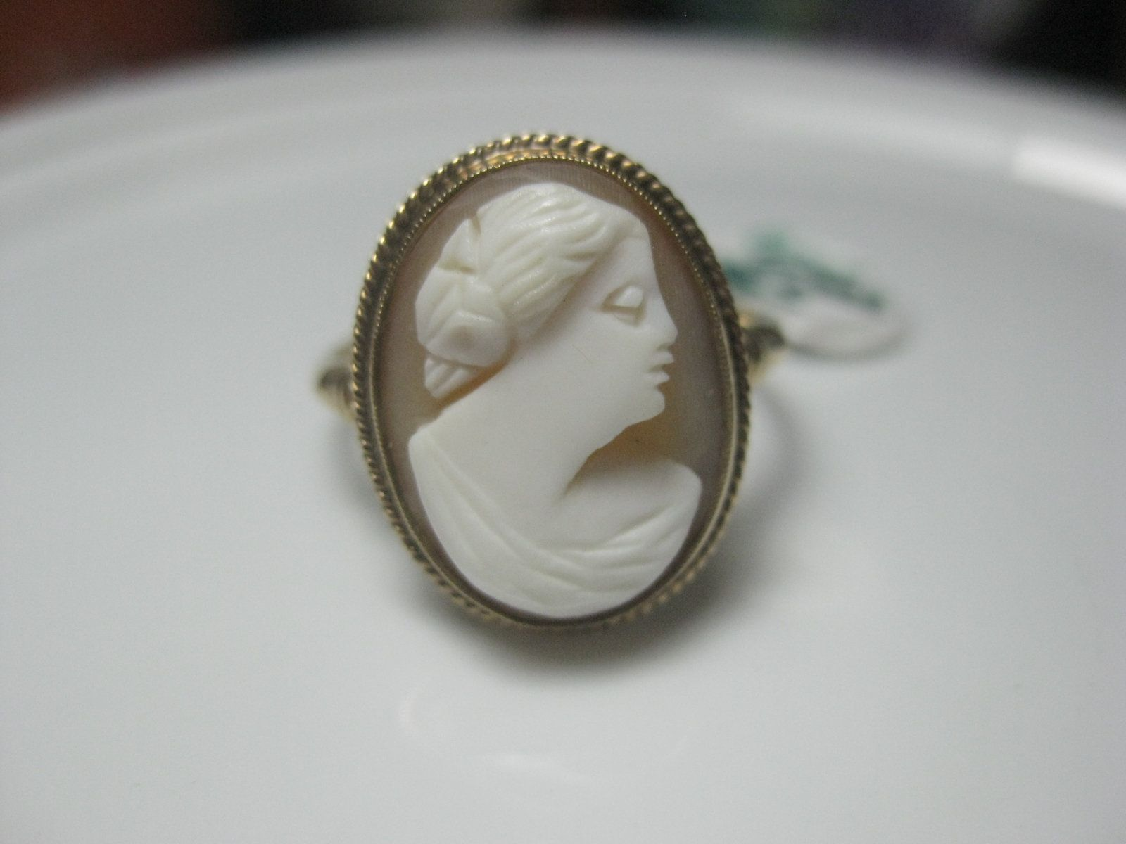 Both sterling 1920/'s cameo ring /& 1940/'s cameo earrings
