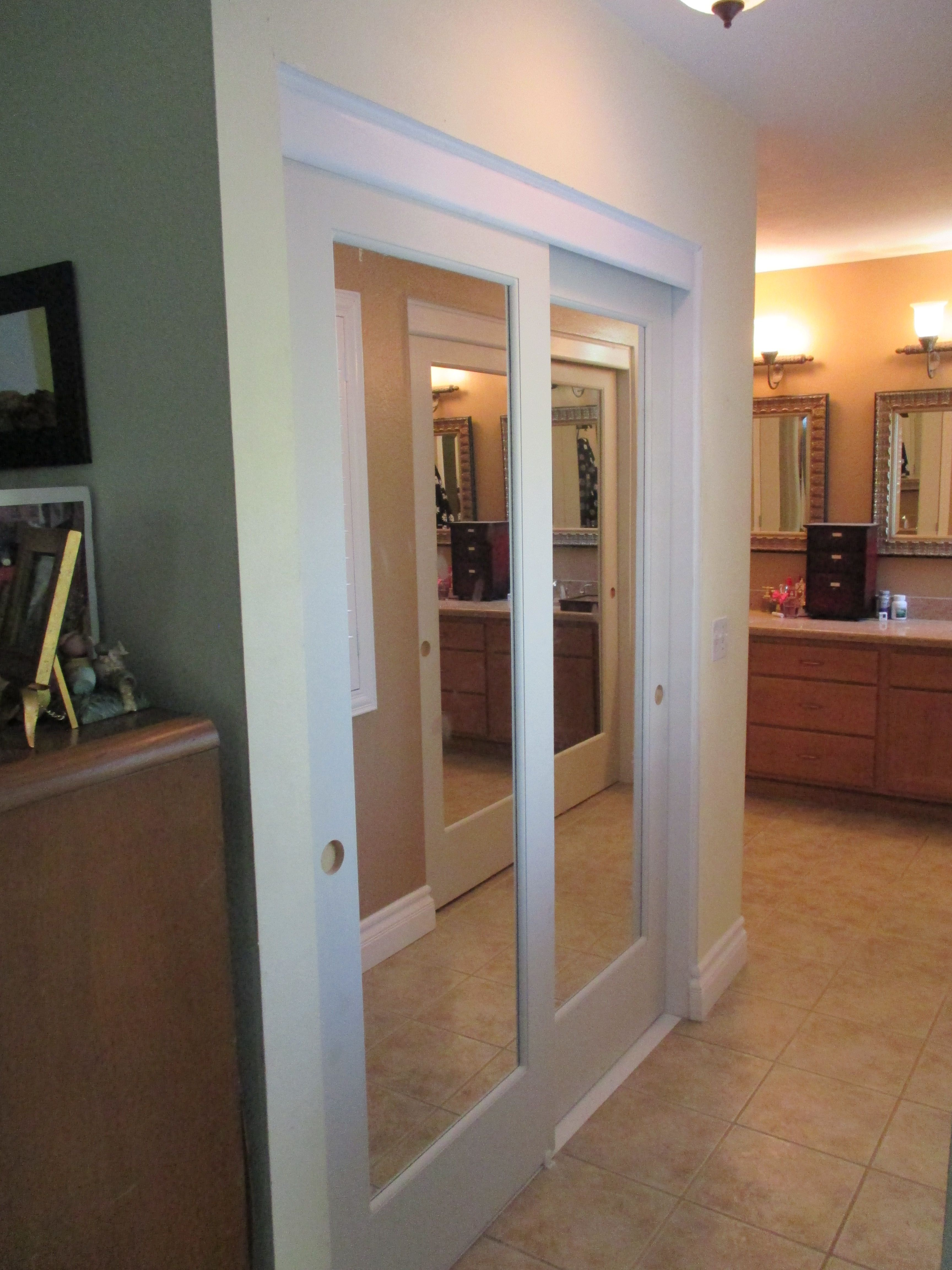 Ovation Mirror Bypass Sliding Closet Doors Top Hung Mirror