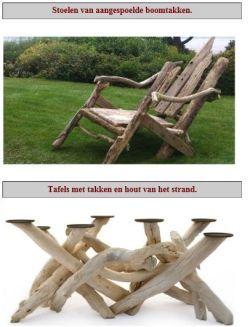 Tafels en stoelen van takken maken.