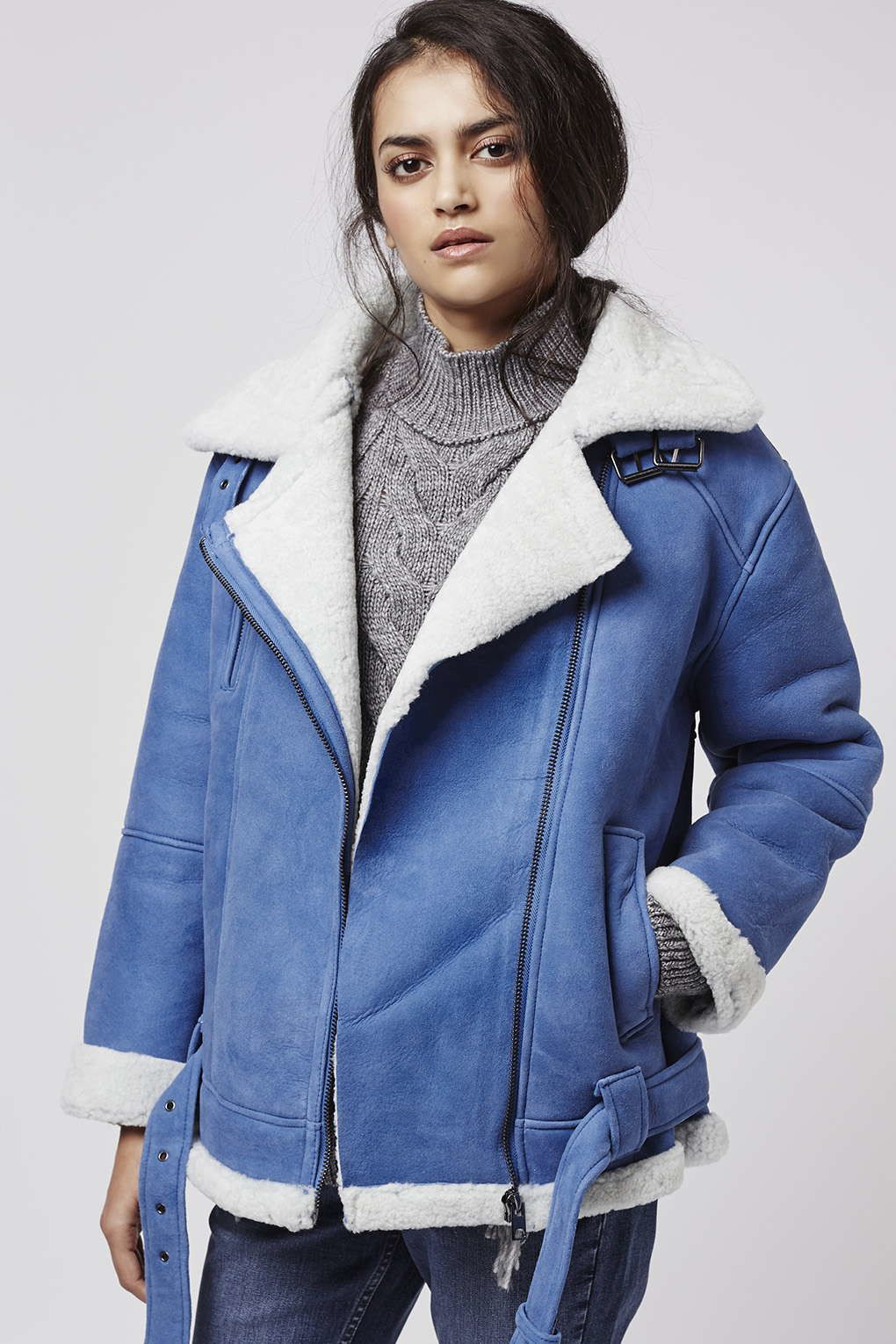 TOPSHOP Women's Blue Real Shearling Biker Jacket | Outerwear ...