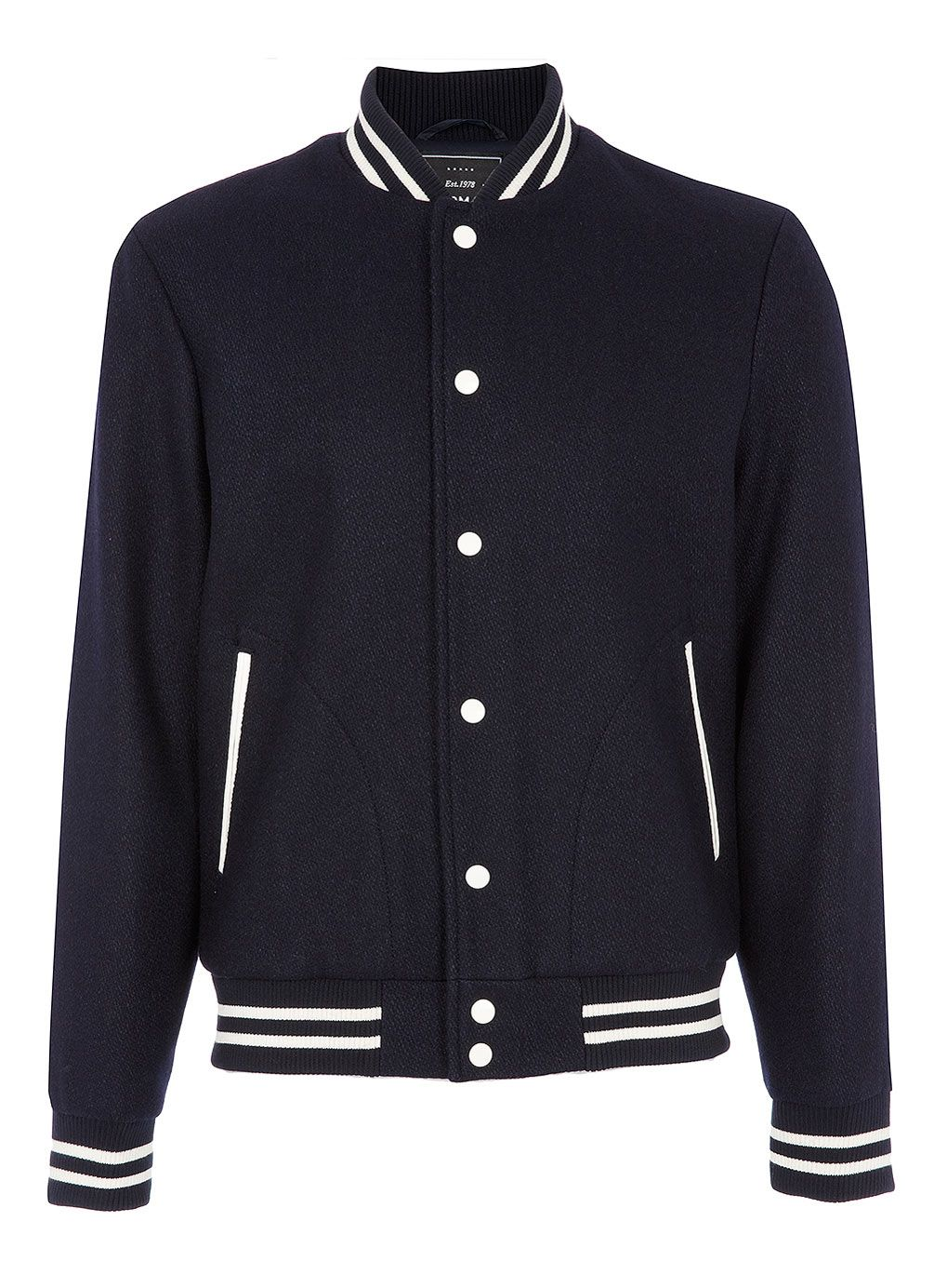 Navy wool varsity bomber Varsity jacket, Checks fashion