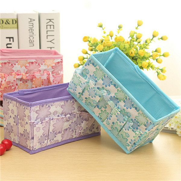 Flower Nonwoven Fabrics Brushes Makeup Cosmetic Folding Storage Box