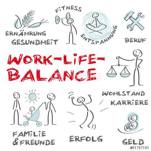 Vektor: Work Life Balance, Arbeit, Privatleben, Gesundheit