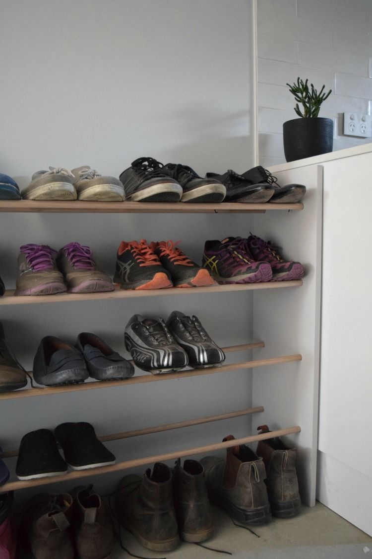 Before And After, Messy Shoe Storage Gets A Makeover With A Sleek DIY Dowel Shoe  Rack