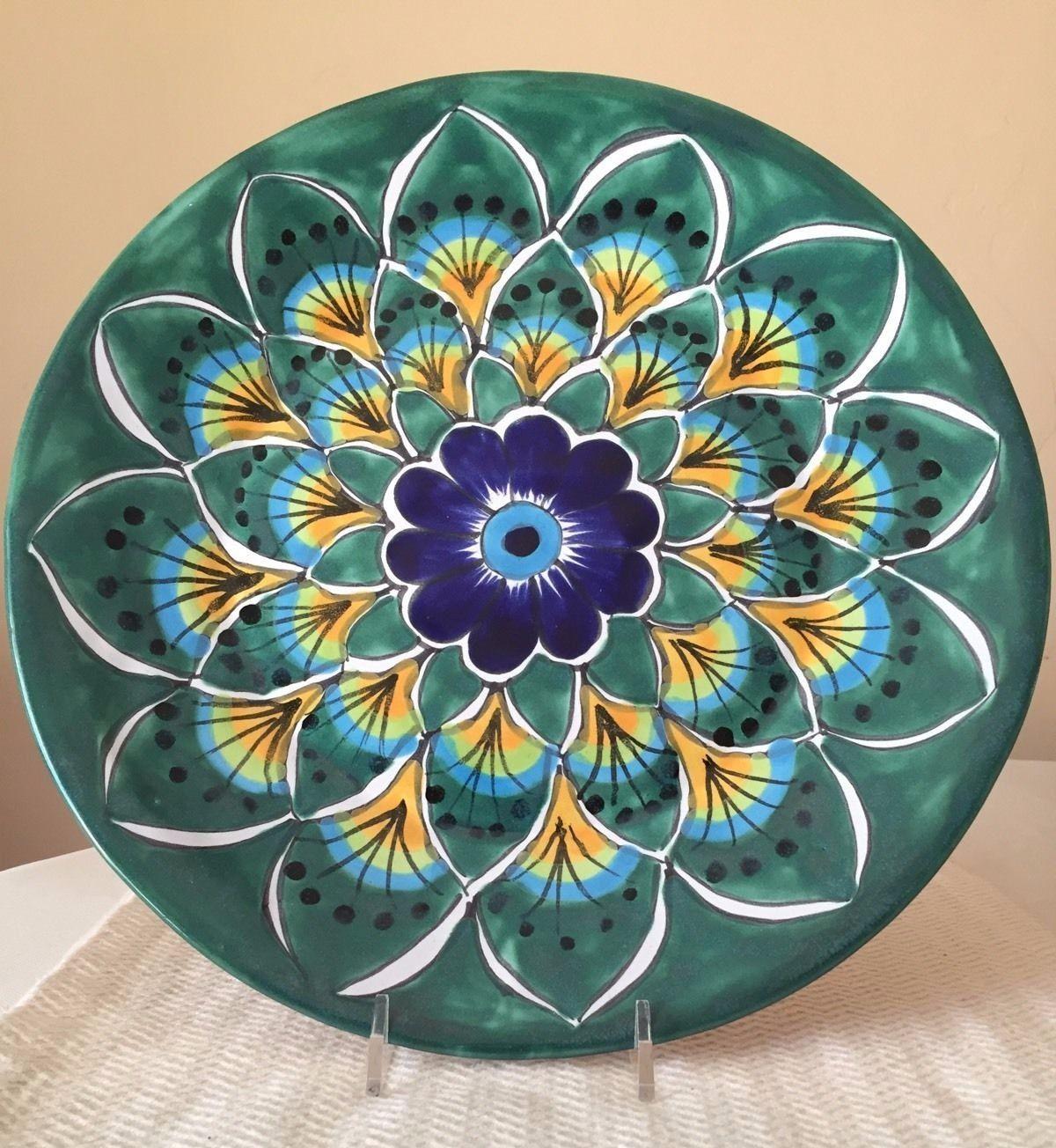 Mexican Collectibles   eBay. Talavera PotteryPlate Wall DecorPottery ... & Mexican Talavera Pottery Plate Wall Decor Green Blue Peacock Feather ...