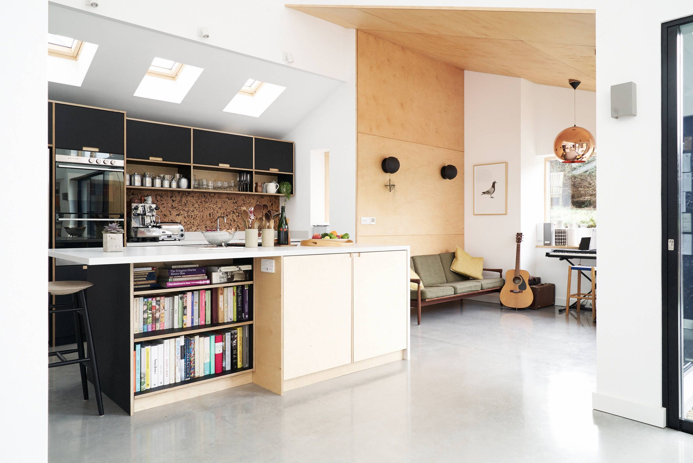 Fenix and birch kitchen with spacer panels by Plykea ...