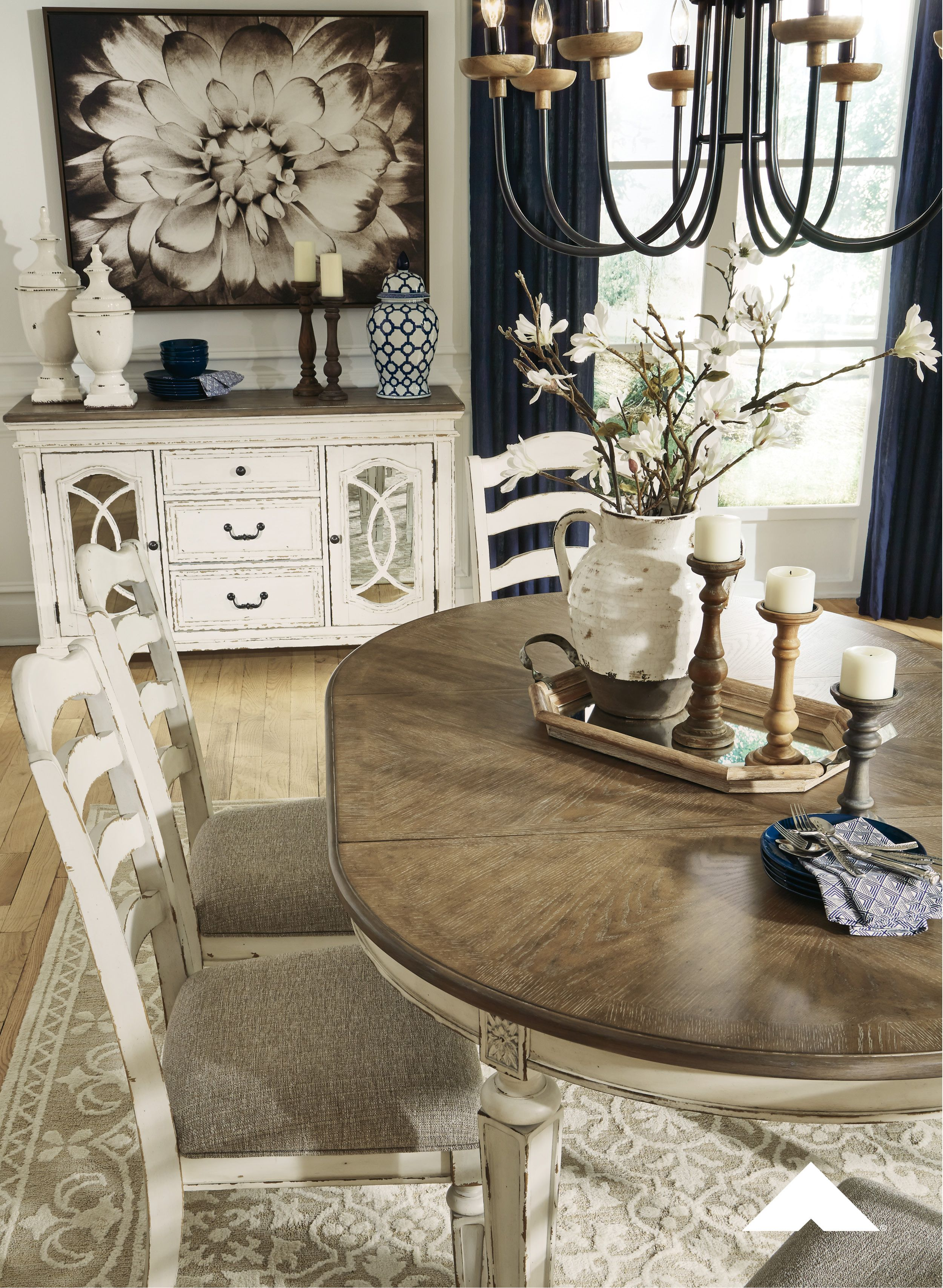 Realyn Dining Room Set By Ashley Furniture Bon Appetite The Realyn Dining Room Extensio Farmhouse Dining Rooms Decor Farm House Living Room Farmhouse Dining