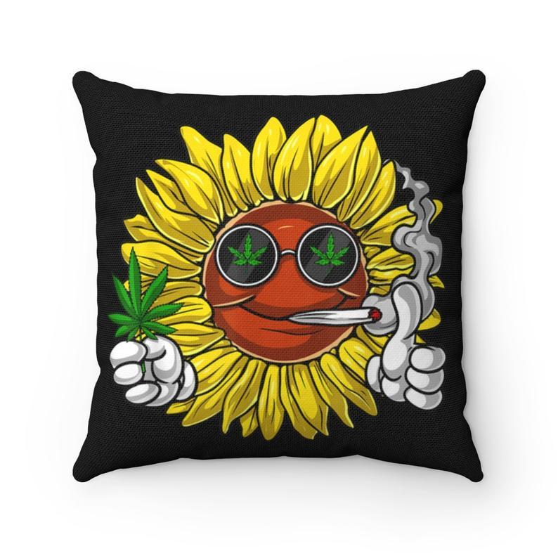 Weed Pillow Case, Cannabis Pillow case, Marijuana Pillowcase, Funny gift stoner, Sunflower pillow case, Funny cannabis gift, Pot Pillowcase