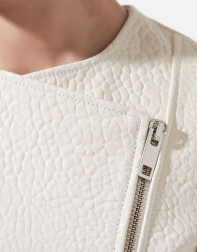 White leather studio jacket detail front