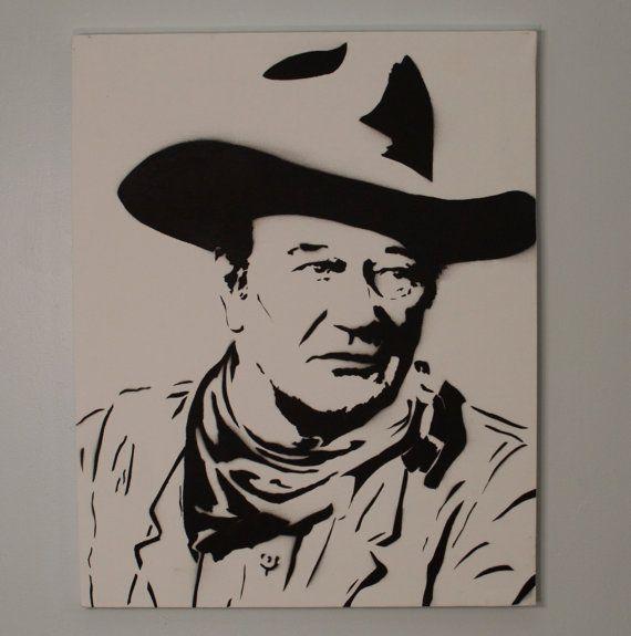 John Wayne Art Black And White Painting With Red Bandana Etsy Black And White Painting White Painting Art