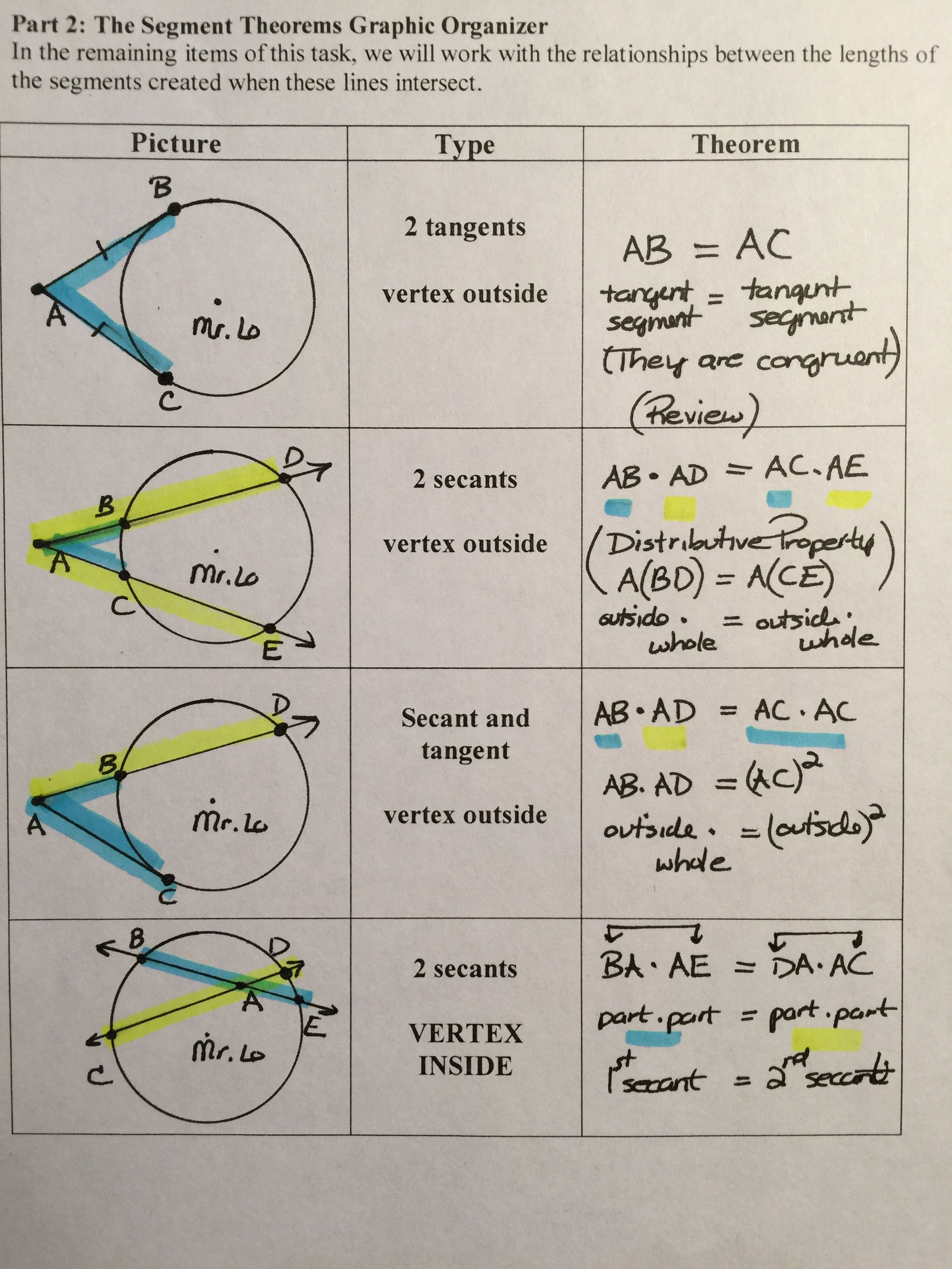 Construct Prove And Compare Angle Amp Segment Theorems Of