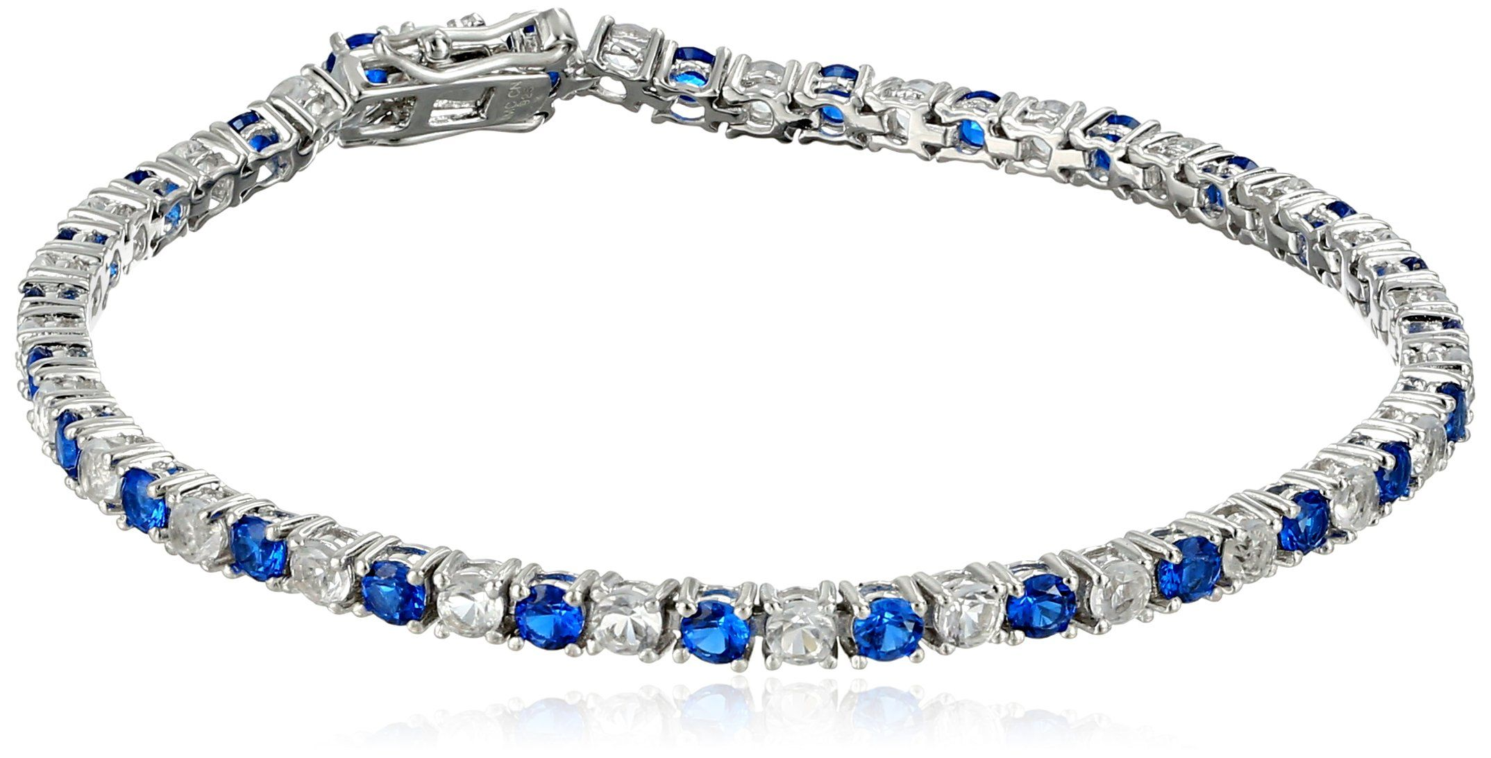 Created blue sapphire and white topaz tennis bracelet in sterling