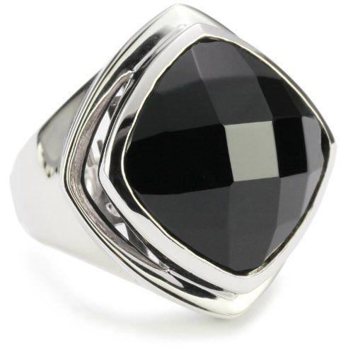 Sterling Silver Ring w// Emerald-Cut Black Agate ELLE Jewelry