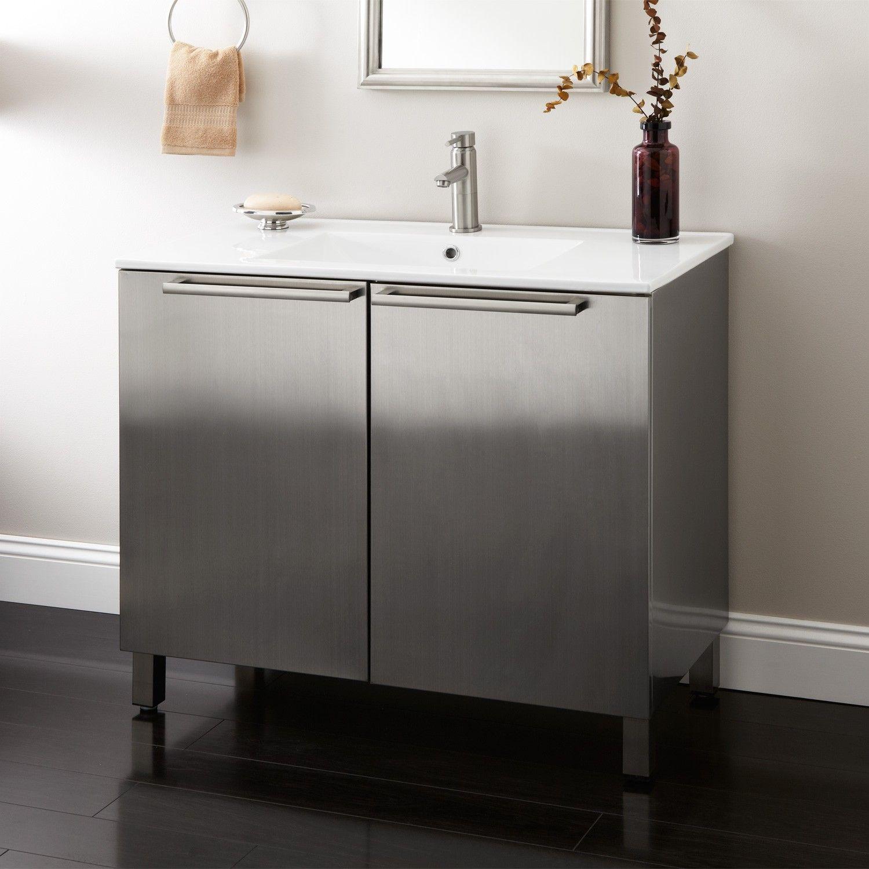 36 Tybalt Stainless Steel Vanity Brushed Narrow Vanities Bathroom Vaniti Stainless Steel Bathroom Vanity Stainless Steel Bathroom Unique Bathroom Vanity