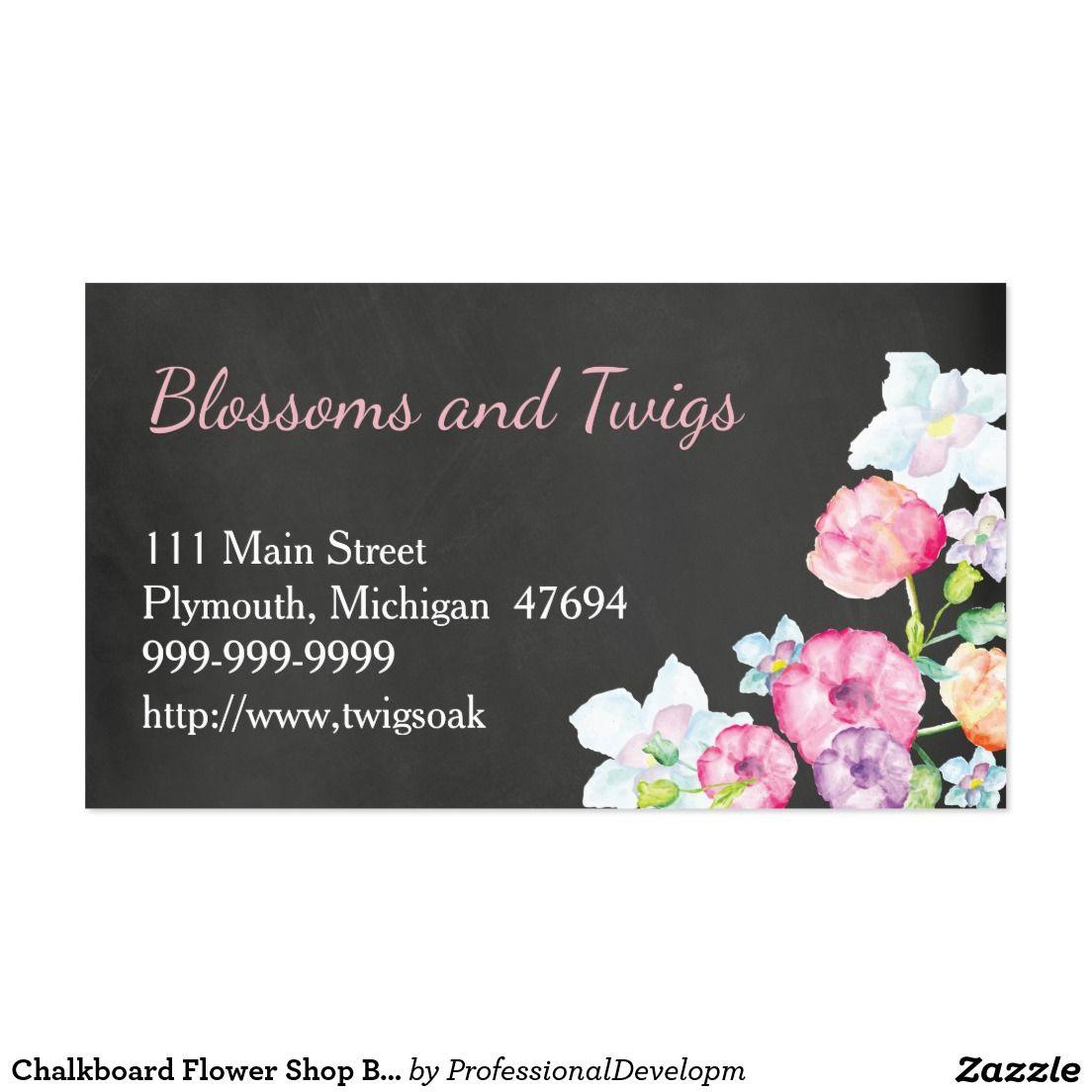 Chalkboard Flower Shop Business Card Watercolor Zazzle Com Chalkboard Wedding Invitations Chalkboard Flowers Business Cards Watercolor