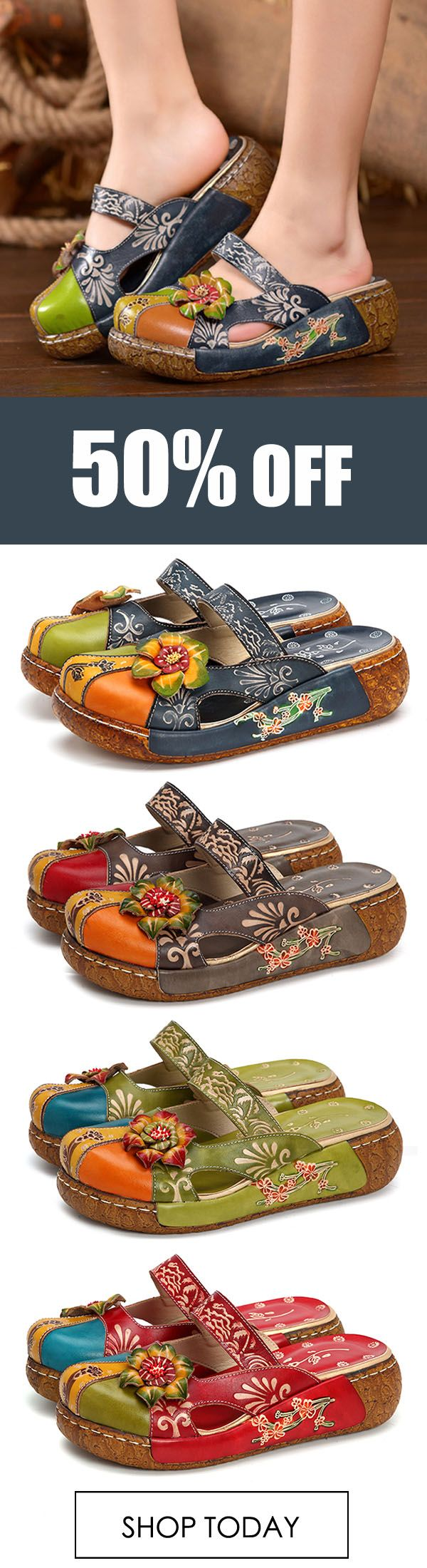 SOCOFY Vintage Shoe Colorful Leather Hollow Out Backless Flower Shoe Vintage ... 875904
