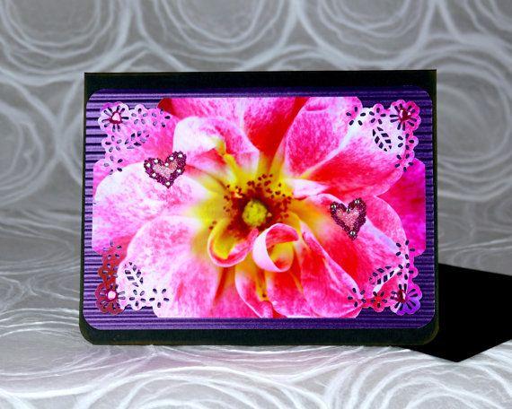 photo greeting card rose pink hearts  photo greeting
