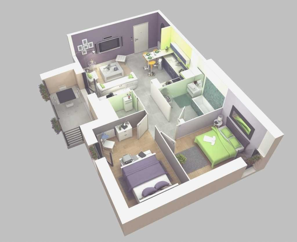 House · Nice Simple House Plan With 2 Bedrooms ...