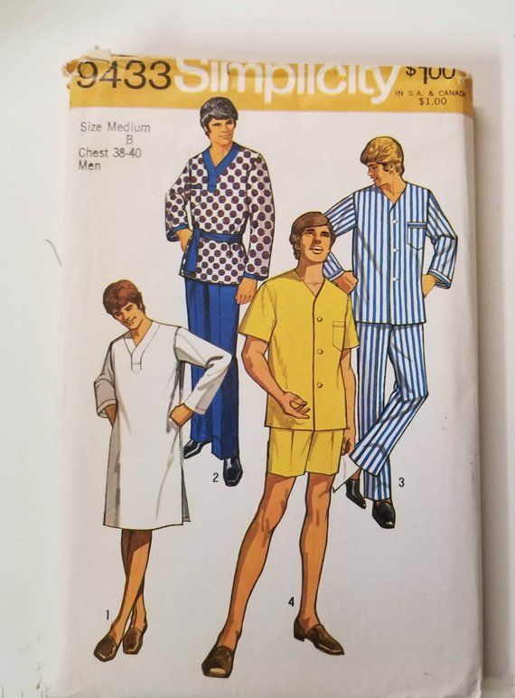 "Vintage 1950/'s Sewing Pattern Men/'s Pajamas Pyjamas Size Medium Chest 38/"" 40/"""