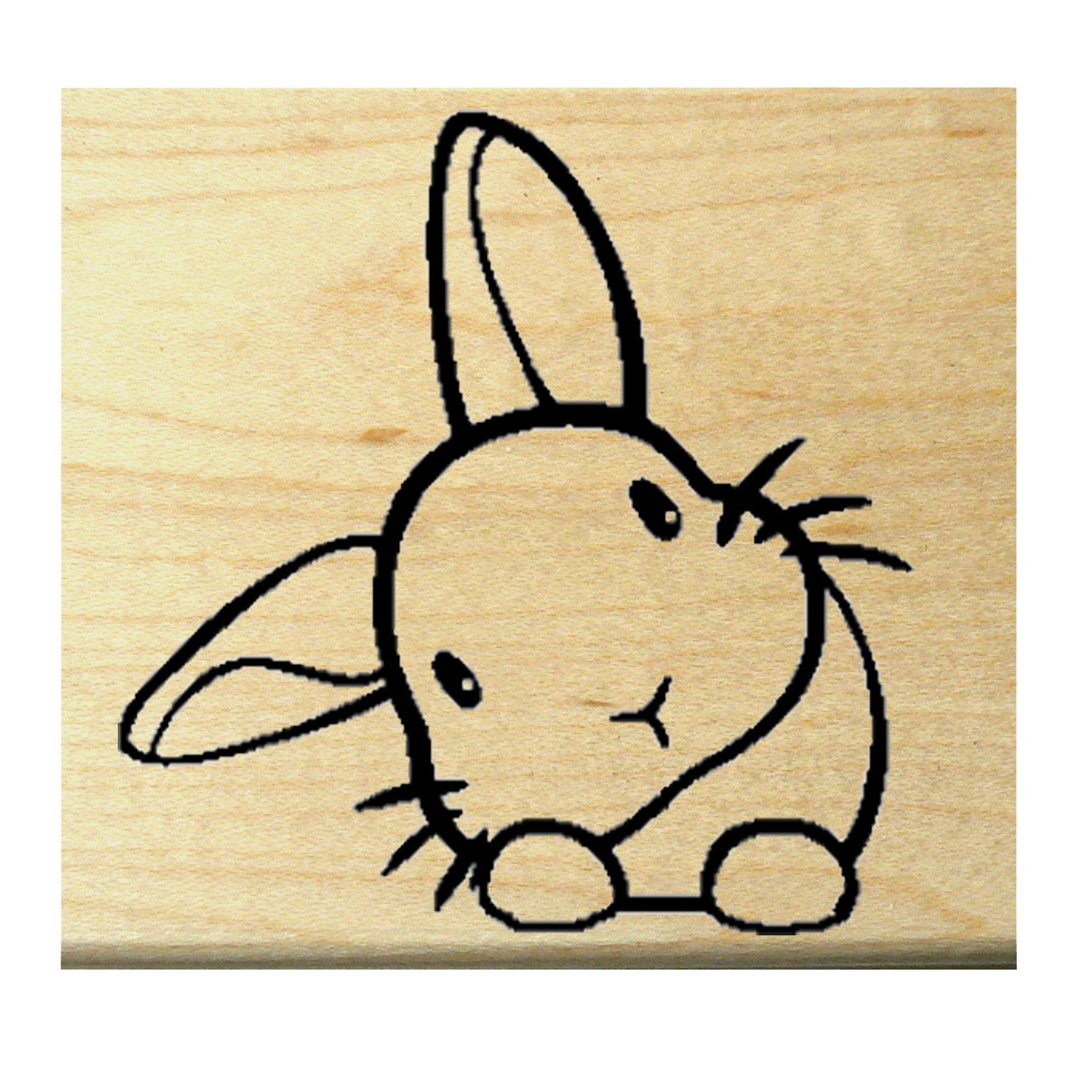 Q20 Bunny Miniature Rubber Stamp Stamp, Miniatures