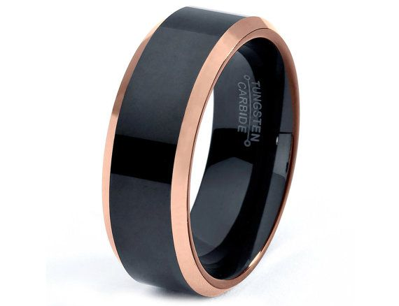 Rose Gold Wedding Band Ring Tungsten Carbide 8mm 18k Brushed Man Male