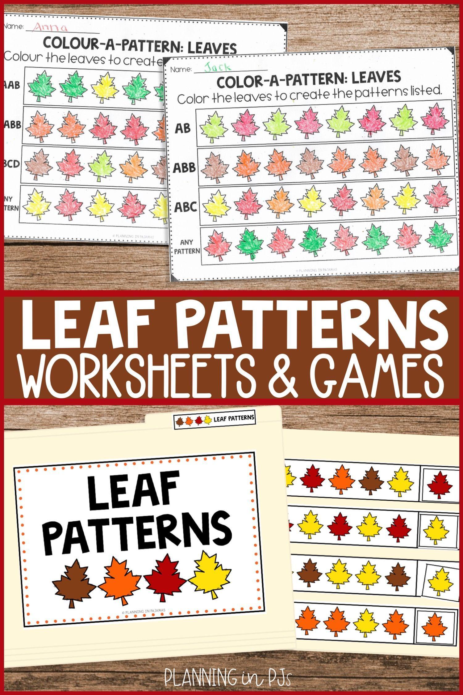Fall Themed File Folder Games And Pattern Activities Pattern Worksheet Kindergarten Math Activities Math Center Activities [ 2249 x 1500 Pixel ]