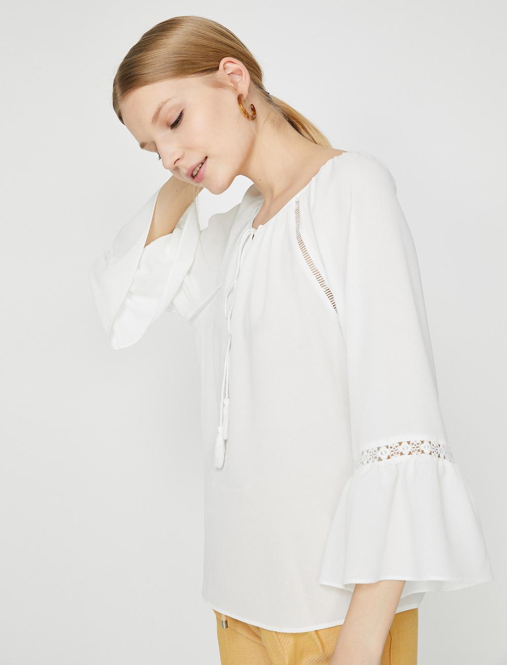 Ekru Bayan Dantel Detayli Bluz 9yak68471pw001 Koton In 2020 Fashion Women Professional Attire Winter Outfits Dressy