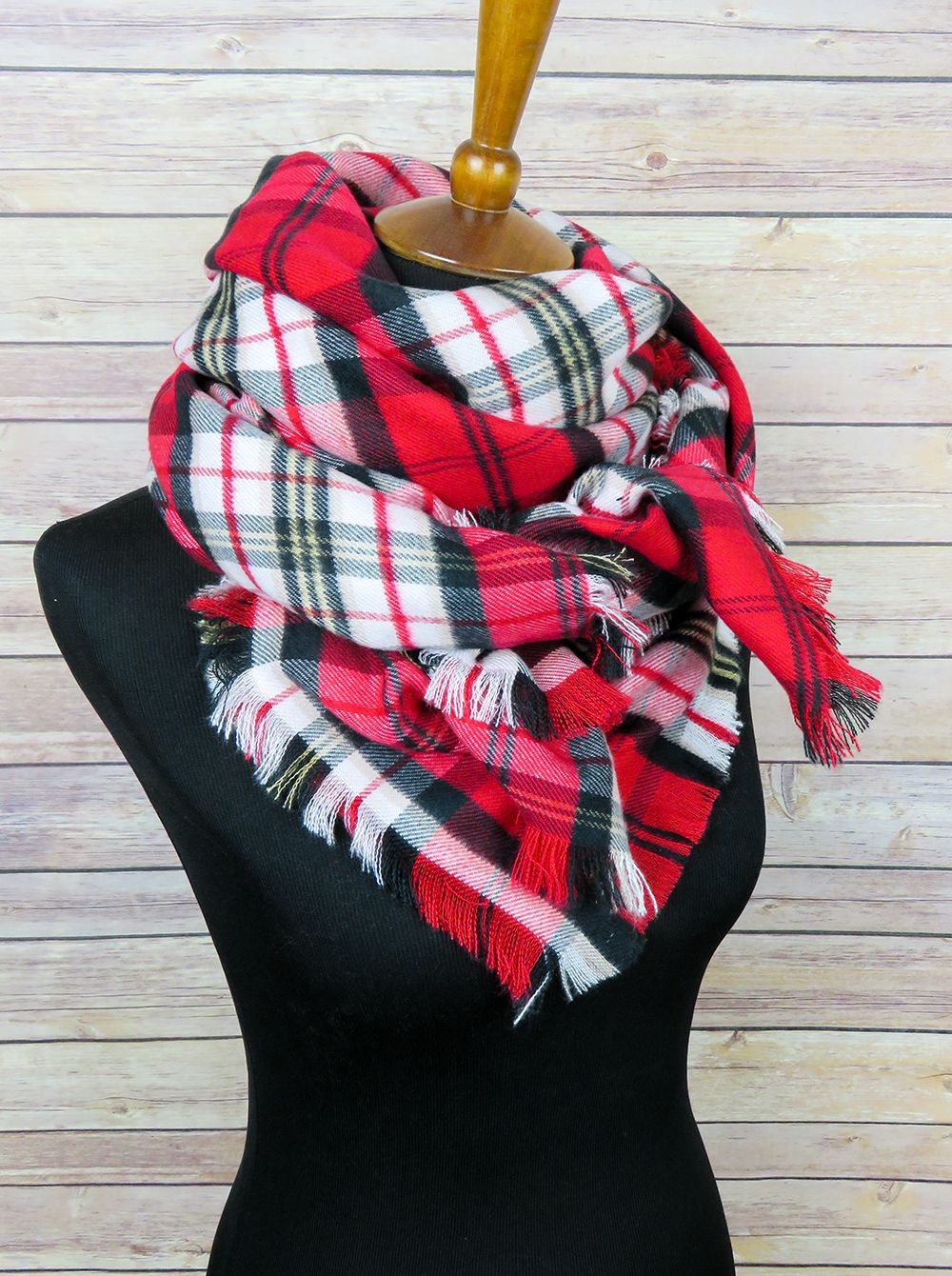 Super Soft Oversized Scarf In Plaid Acrylic Flannel Red White
