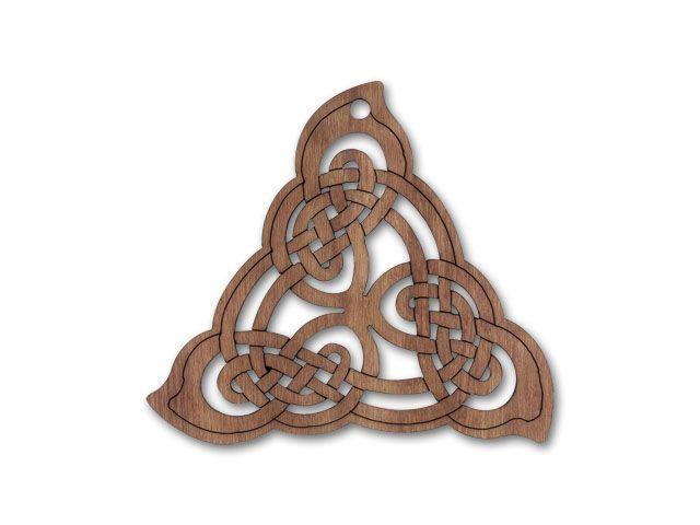 Celtic Triangle Pendant - Walnut Wood