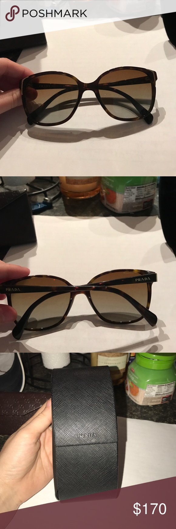 a719e1ab6a5 Small scratch on right lense. Comes with case but case is slightly bent. Prada  Accessories Sunglasses. Prada PR 01OS polarized ...