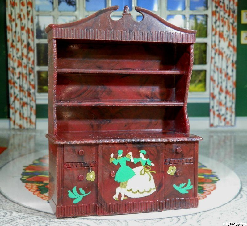 Renwal STENCILED HUTCH/CHINA CABINET Vintage Dollhouse Furniture 1:16 Ideal  Marx #Renwal