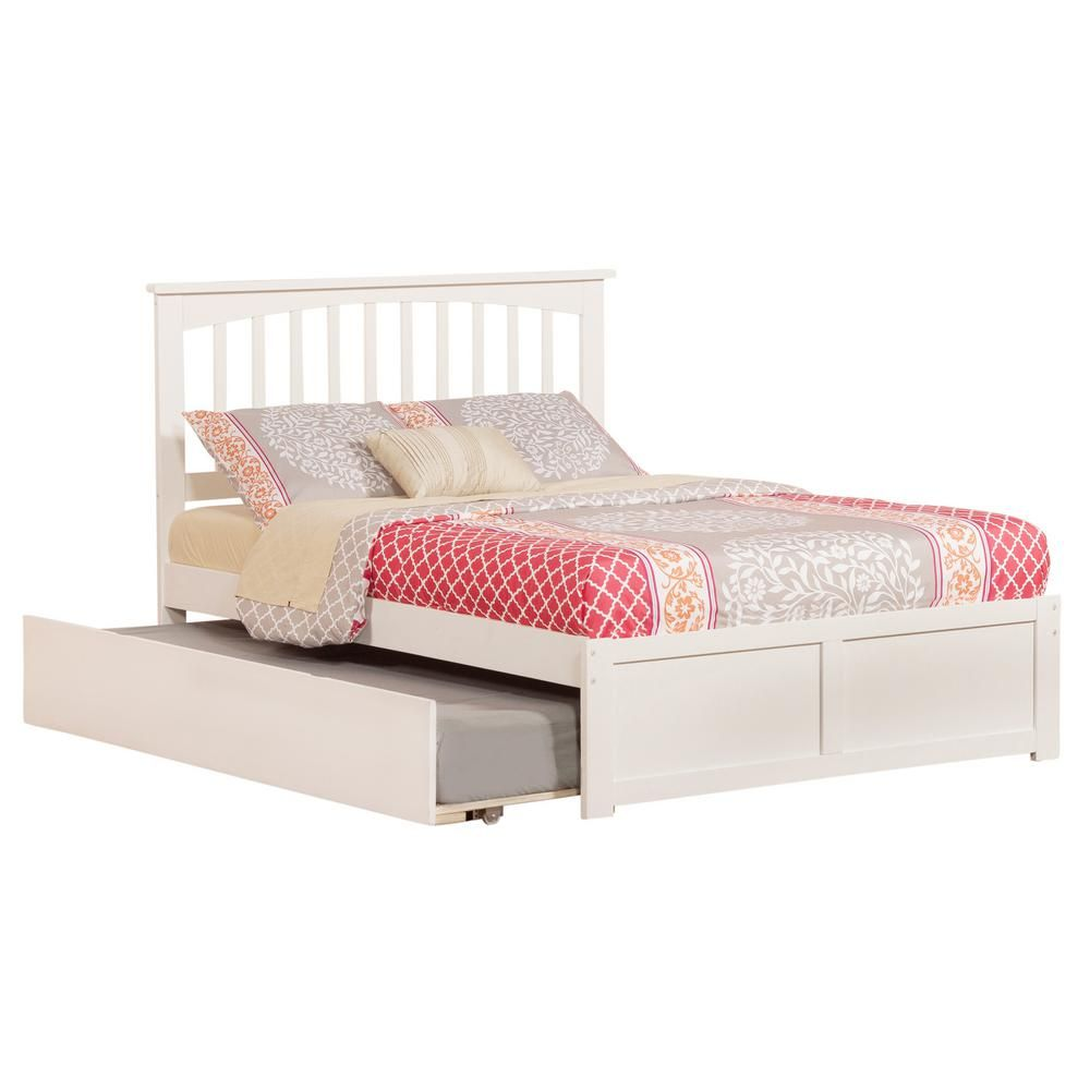 Atlantic Furniture Mission White Full Platform Bed With Flat Panel