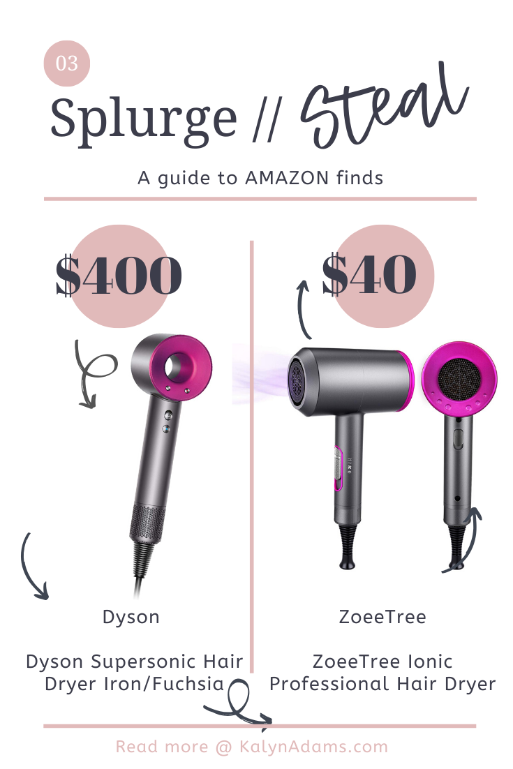 Splurge vs. Steal // Amazon Dupe Designer Hair Dryer