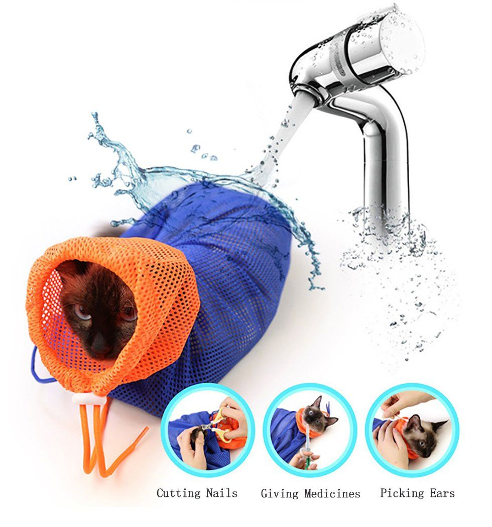 Cat Grooming Bag Polyester Mesh Cat Cleaning Bag No
