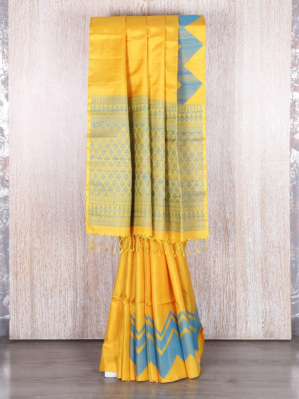 Yellow Bangalore Silk Wedding Wear Saree