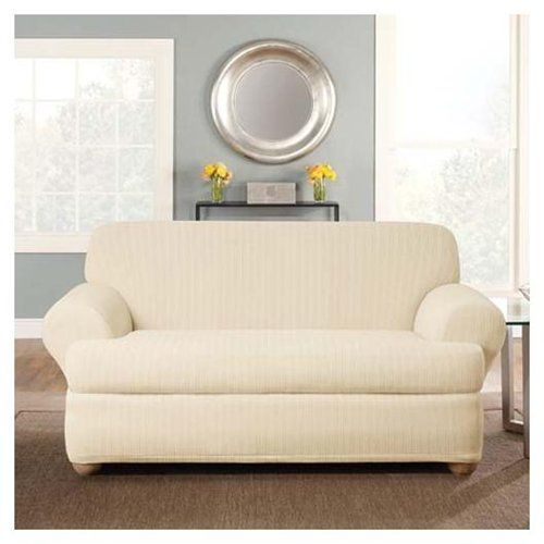 Surefit Cream Stretch Pinstripe 2 Piece T Cushion Sofa