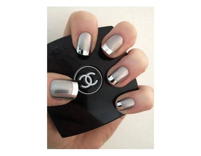 A monochrome metallic French manicure is fun twist on this classic style.