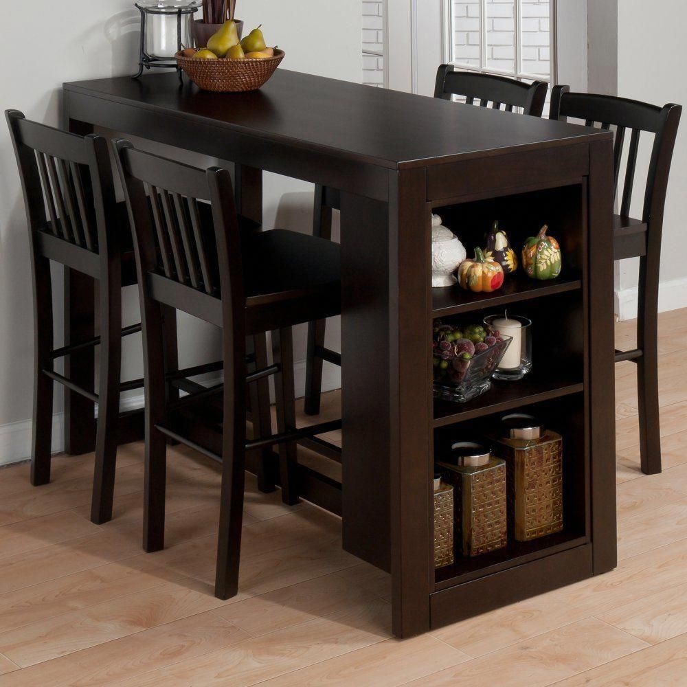 Breakfast Dining Set Table Cozy Chairs 2 Shelves Elegant Sturdy
