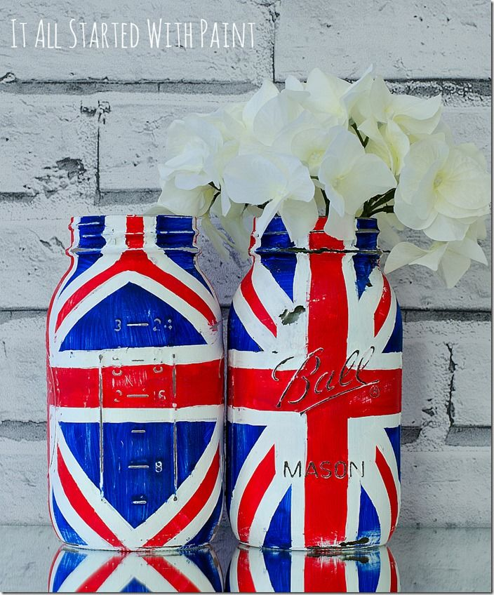 Info's : Union jack flag mason jar craft