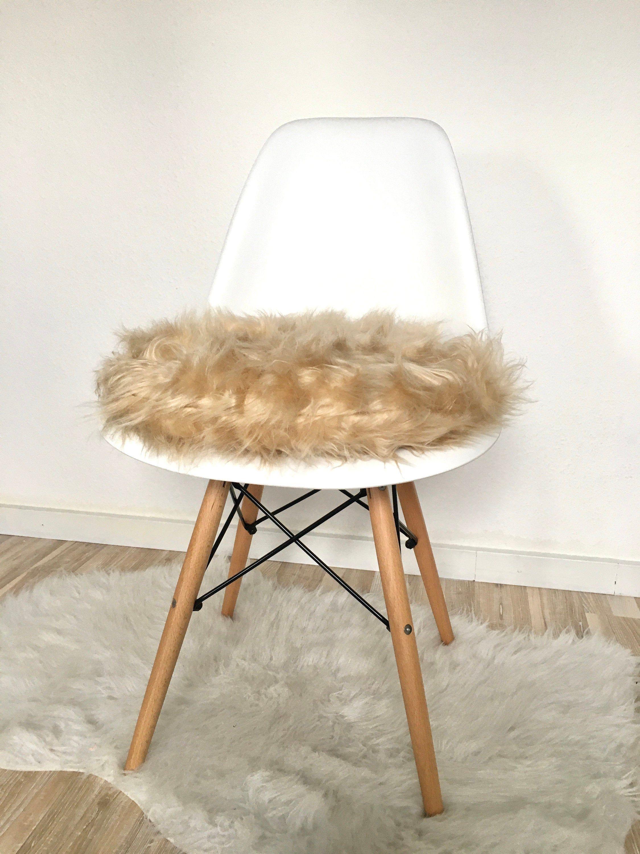 Beige chair cushion plush fabric 6 cm height chair