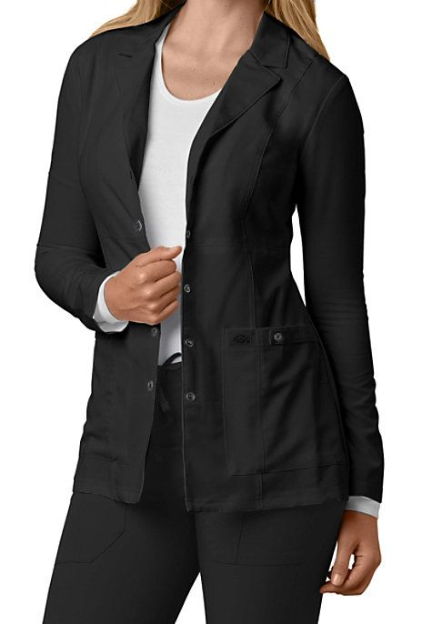 530a04ff0ba ALTERNATIVE STYLE Who knew a lab coat could look like this? Tailoring with  princess seams, back belt tabs and notched lapels turns this workplace lab  coat ...
