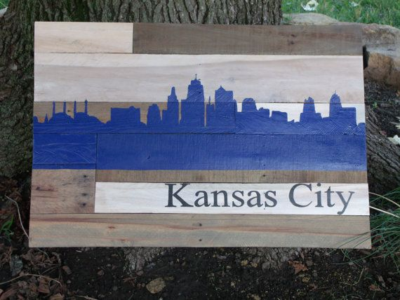 Kansas City Skyline Silhouette in Royals Blue Wall Hanging on Reclaimed  Pallet Wood - Kansas City Skyline Silhouette In Royals Blue Wall Hanging On