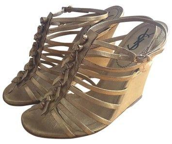771f5f908 Saint Laurent Gold Wedges Size US 6 Regular (M