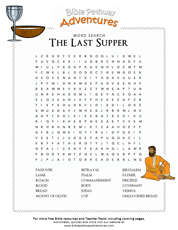 Bible Word Search: The Last Supper   Bible words, Sunday ...