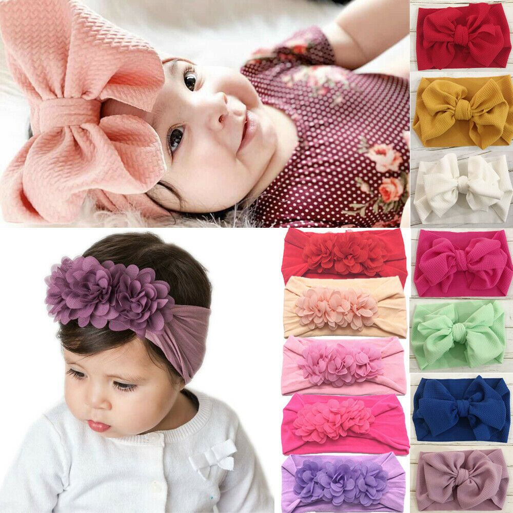Baby Girl Hair Band Bow Headband Turban Knot Hair Accessory HeadWrap 3 Styles