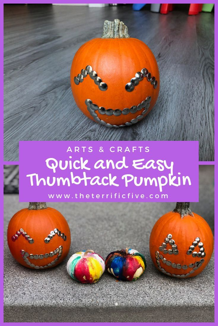 Quick and easy thumbtack pumpkin no carve decorating idea halloween free also everything mom pinterest rh