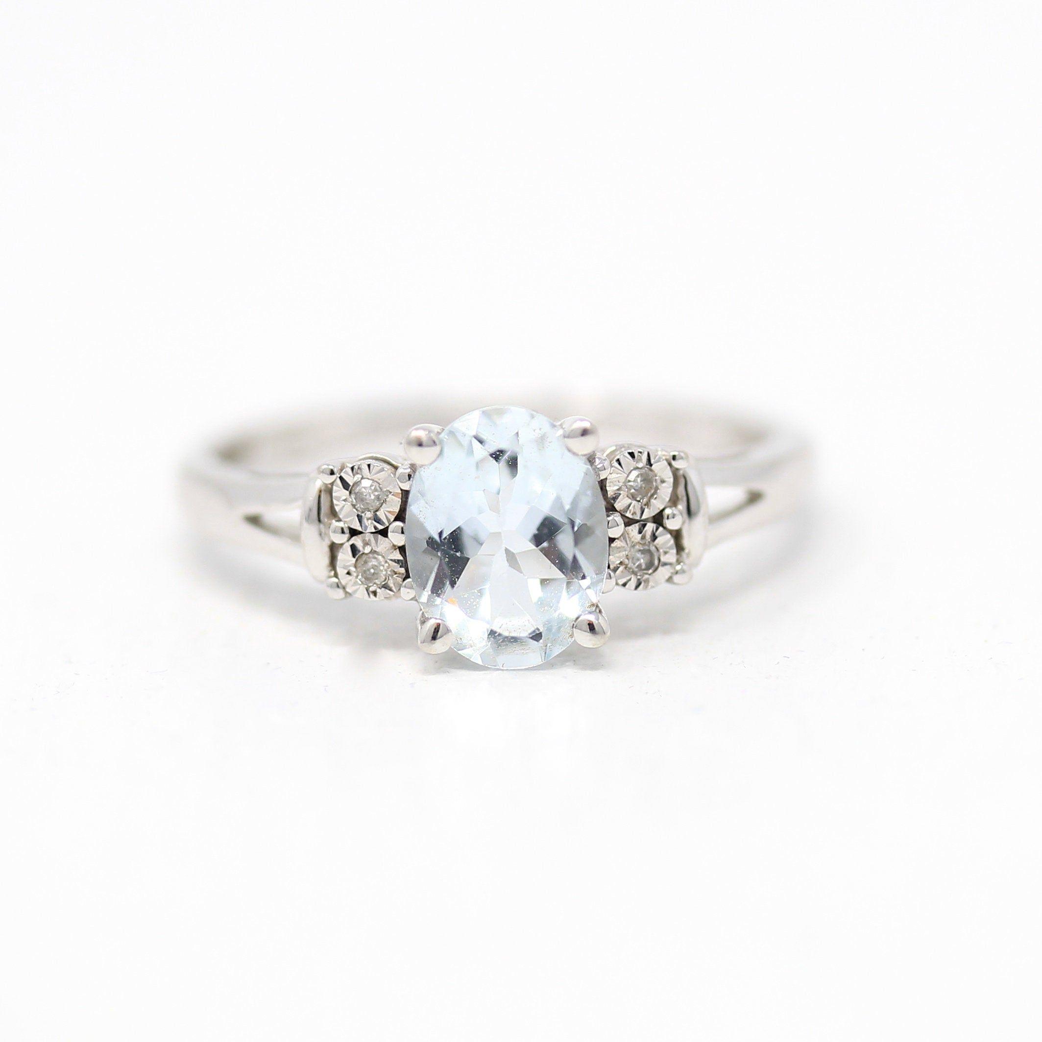 Estate Aquamarine Diamond Ring 10k White Gold Genuine 1 Carat Icy Light Blue Oval Gem Size 7 Vintage Gem March Birthstone Fine Jewelry In 2020 Diamond Ring March Birth Stone Diamond