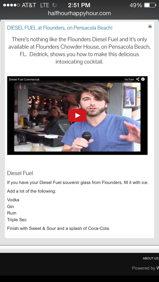 Diesel Fuel Drink Recipe Flounders