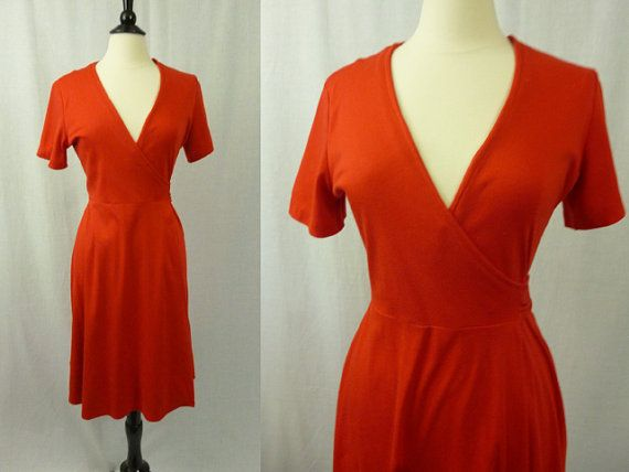 vintage 1970s sexy red wrap dress disco 70s M/L by virginvixen